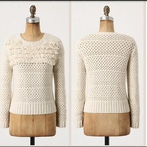 Anthro Far Away From Close White Fringe Sweater